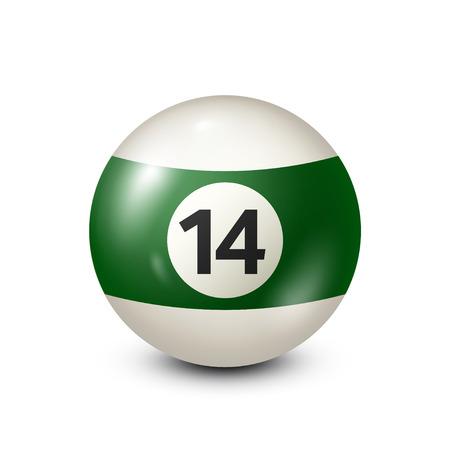 Biljart, groene poolbal met nummer 14. Snooker. Transparante achtergrond. Vectorillustratie.