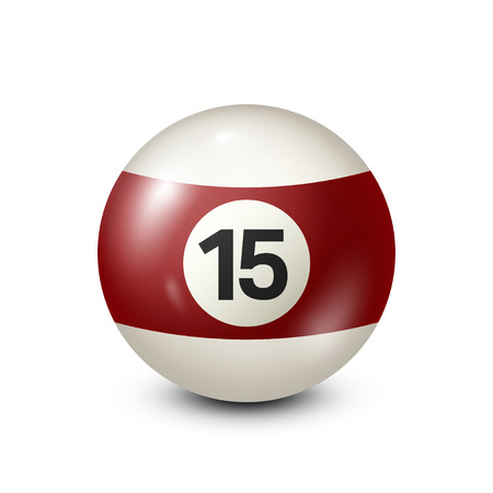 Billiard,yellred ow pool ball with number 15.Snooker. Transparent background.Vector illustration.
