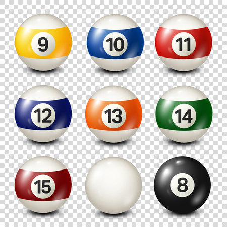 Biljart, verzameling poolballen. Snooker. Transparante achtergrond. Vector illustratie.