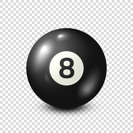 Billiard,black pool ball with number 8.Snooker. Transparent background.Vector illustration. Stock Illustratie