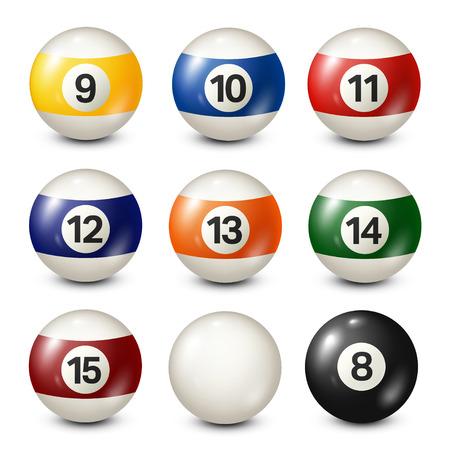Biljart, collectie poolballen. Snooker. Witte achtergrond. Vector illustratie. Stock Illustratie