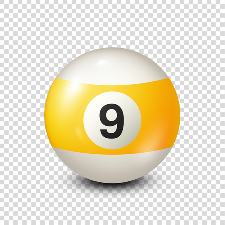 Billiard,yellow pool ball with number 9.Snooker. Transparent background.Vector illustration.