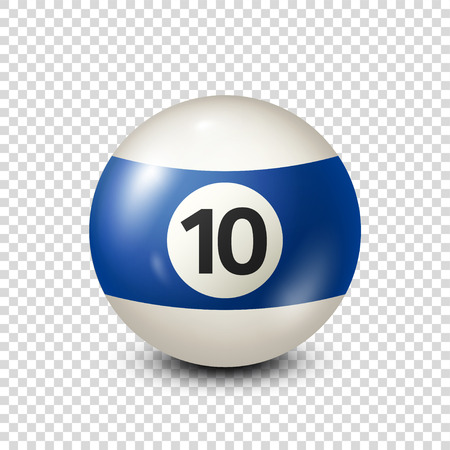 Billiard,blue pool ball with number 10.Snooker. Transparent background.Vector illustration. Vettoriali