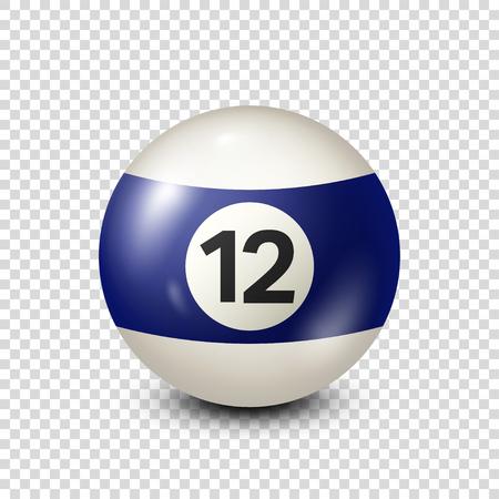 Biljart, blauwe biljartbal met nummer 12. Snooker. Transparante achtergrond. Vectorillustratie.