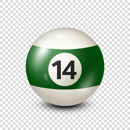 Billar, bola de piscina verde con el número 14.Snooker. Transparente background.Vector ilustración. Foto de archivo - 80446066