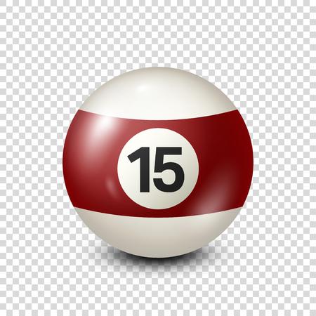 Billar, yellred ow billar con el número 15.Snooker. Transparente background.Vector ilustración. Foto de archivo - 80446067