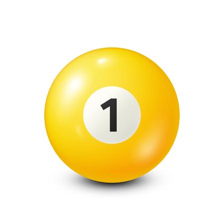 Biljart, gele poolbal met nummer 1.Snooker. Witte achtergrond. Vector illustratie. Stock Illustratie