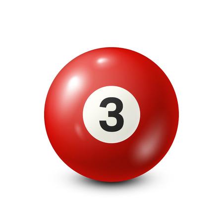 Billar, bola roja de la piscina con el número 3.Snooker. Ilustración de fondo blanco.Vector. Foto de archivo - 80446069