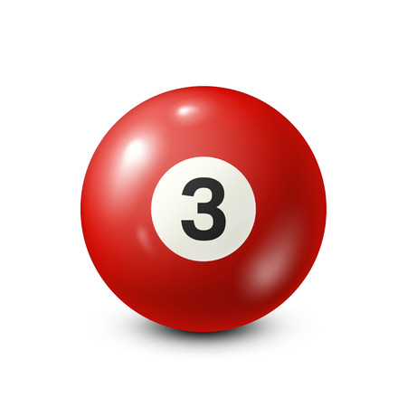 Billiard,red pool ball with number 3.Snooker. White background.Vector illustration. Illustration