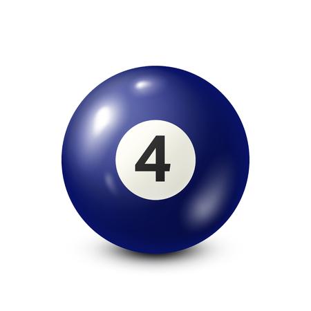 Biljart, blauwe poolbal met nummer 4.Snooker. Witte achtergrond. Vector illustratie.