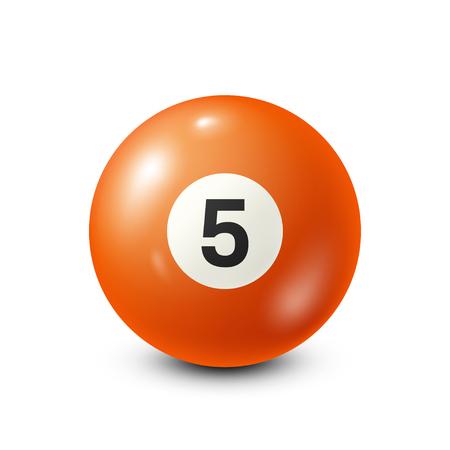 Biljart, oranje poolbal met nummer 5.Snooker. Witte achtergrond. Vector illustratie. Stock Illustratie