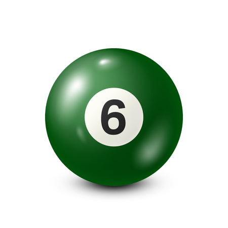 cue ball: Billiard,green pool ball with number 6.Snooker. White background.Vector illustration.