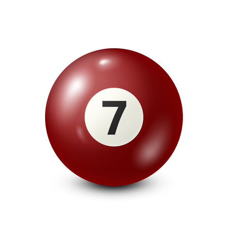 Billiard,red pool ball with number 7.Snooker. White background.Vector illustration.
