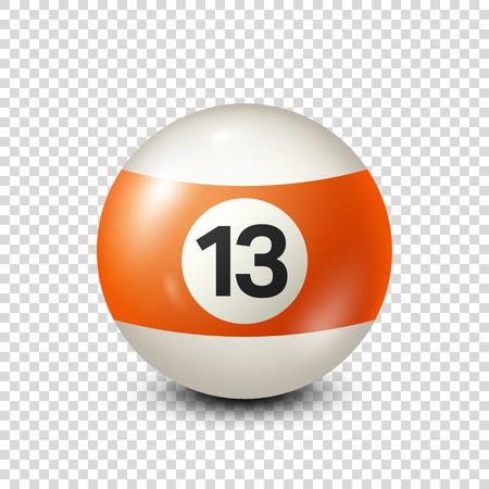 Biljart, oranje biljartbal met nummer 13. Snooker. Transparante achtergrond. Vector illustratie.