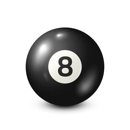 番号 8.Snooker とビリヤード、ブラック プール ボール。白い背景。ベクトルの図。