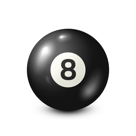 Billiard,black pool ball with number 8.Snooker. White background.Vector illustration. Banque d'images