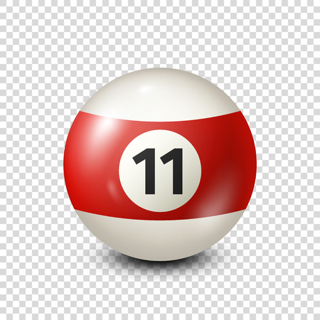 Billiard,red pool ball with number 11.Snooker. Transparent background.Vector illustration.