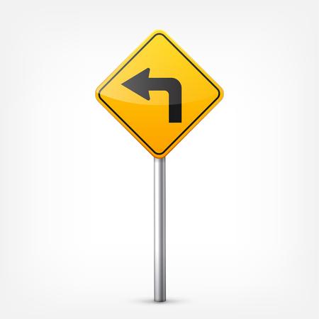 Weg geel tekenen collectie geïsoleerd op een witte achtergrond. Road traffic control.Lane usage.Stop en opbrengst. Regeltekens. Krommen en bochten. Stock Illustratie