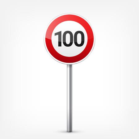赤い標識コレクションは、白い背景で隔離。交通規制。車線の利用状況。停止し、降伏。規制標識。曲線となります。制限速度。
