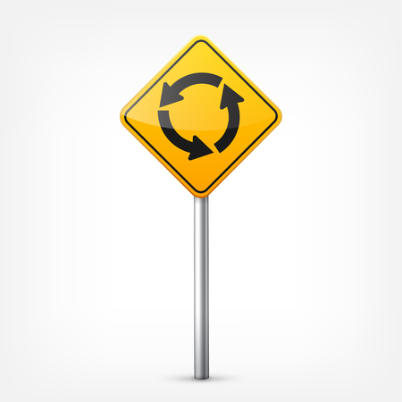 Road yellow signs collection isolated on white background. Road traffic control.Lane usage.Stop and yield. Regulatory signs. Curves and turns. Illustration