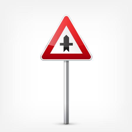 赤い標識コレクションは、白い背景で隔離。交通規制。車線の利用状況。停止し、降伏。規制標識。曲線となります。