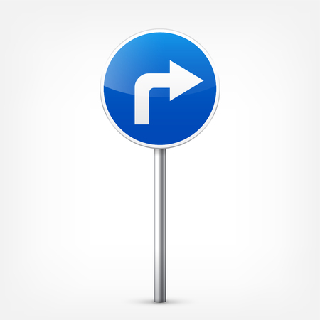 Weg blauwe tekens collectie geïsoleerd op een witte achtergrond. Road traffic control.Lane usage.Stop en opbrengst. Regeltekens. Krommen en bochten.