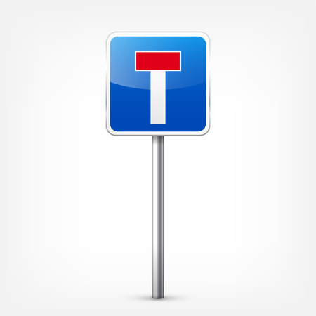 Road blue signs collection isolated on white background. Road traffic control.Lane usage.Stop and yield. Regulatory signs. Curves and turns. Ilustração