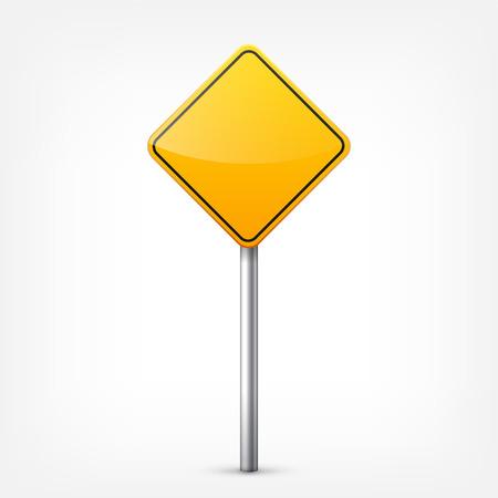 黄色標識コレクションは、白い背景で隔離。交通規制。車線の利用状況。停止し、降伏。規制標識。曲線となります。 写真素材