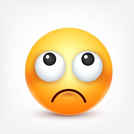 Smiley, emotikon. Żółta twarz z emocjami. Wyraz twarzy. 3d emoji realistyczne. Smutny, szczęśliwy, zły twarz faces.Funny cartoon.Mood. Ikona sieci. Ilustracji wektorowych.