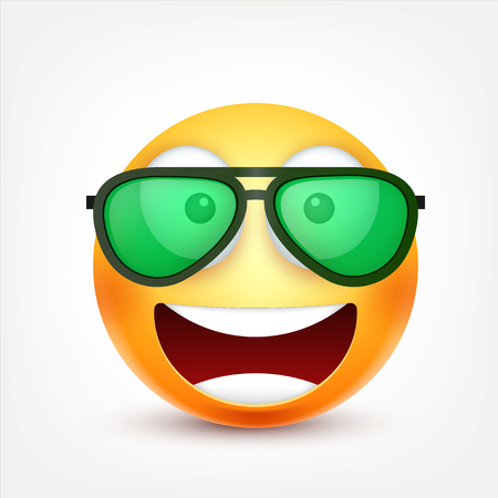 Smiley,emoticon. Yellow face with emotions. Facial expression. 3d realistic emoji. Sad,happy,angry faces.Funny cartoon character.Mood. Web icon. Vector illustration. Zdjęcie Seryjne - 81809862