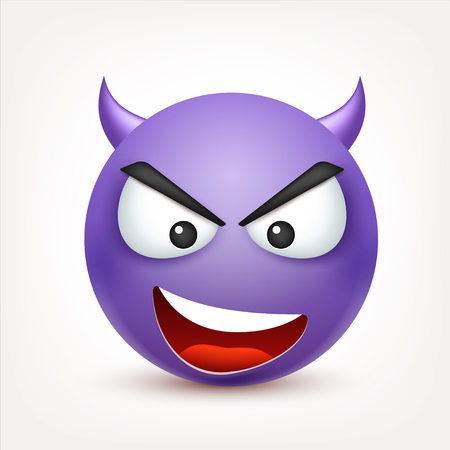 Smiley,emoticon. Yellow face with emotions. Facial expression. 3d realistic emoji. Sad,happy,angry faces.Funny cartoon character.Mood. Web icon. Vector illustration. Zdjęcie Seryjne - 81809864