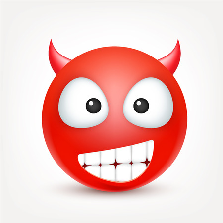 Smiley,emoticon. Red face with emotions. Facial expression. 3d realistic emoji. Sad,happy,angry faces.Funny cartoon character.Mood. Web icon. Vector illustration.