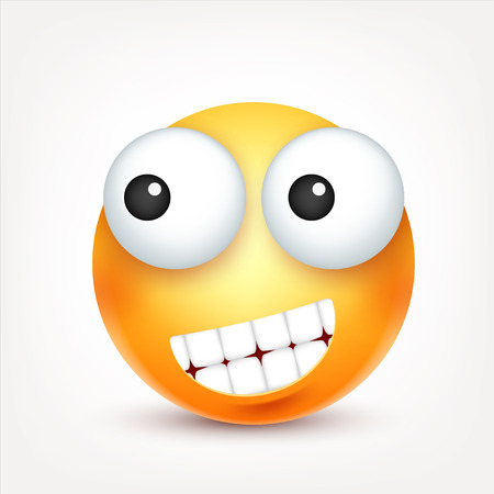 Smiley,emoticon. Yellow face with emotions. Facial expression. 3d realistic emoji. Sad,happy,angry faces.Funny cartoon character.Mood. Web icon. Vector illustration. Zdjęcie Seryjne - 81801489