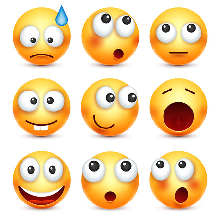 smiley: Smiley,emoticon set. Yellow face with emotions. Facial expression. 3d realistic emoji. Sad,happy,angry faces.Funny cartoon character.Mood. Web icon. Vector illustration.