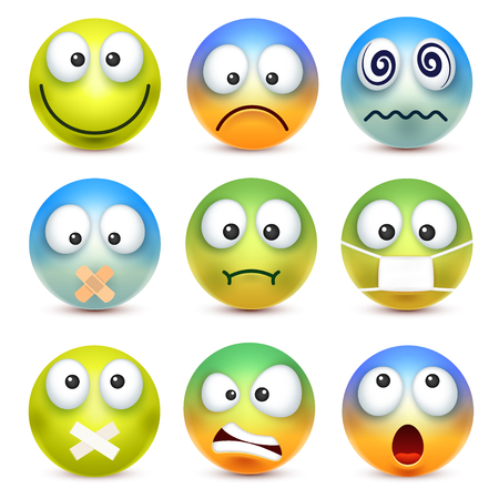 스마일, 이모티콘 설정. 감정 가진 노란 얼굴입니다. 표정. 3d 현실적인 그림이입니다. 슬프고, 행복하고, 성난 얼굴. 만화 캐릭터. 재미있군. 웹 아이콘