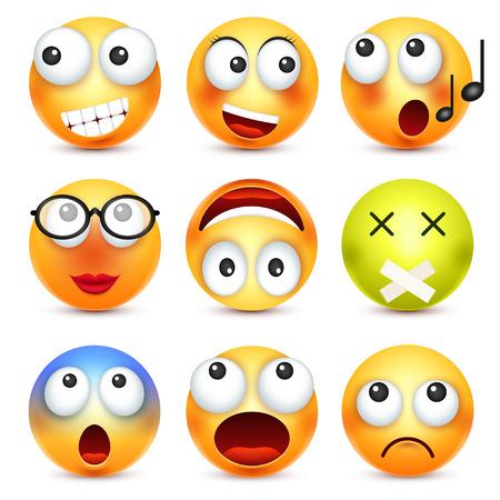 Faccina, set di emoticon. Faccia gialla con emozioni. Espressione facciale. Emoji realistico 3D. Facce tristi, felici, arrabbiati. Personaggio divertente del fumetto. Buon umore. Icona Web. Illustrazione vettoriale Archivio Fotografico - 81802272