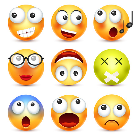Smiley,emoticon set. Yellow face with emotions. Facial expression. 3d realistic emoji. Sad,happy,angry faces.Funny cartoon character.Mood. Web icon. Vector illustration. Stok Fotoğraf - 81802272