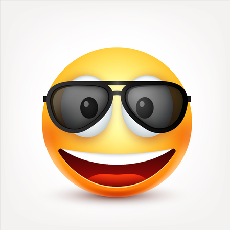 smiley: Smiley,emoticon. Yellow face with emotions. Facial expression. 3d realistic emoji. Sad,happy,angry faces.Funny cartoon character.Mood. Web icon. Vector illustration.