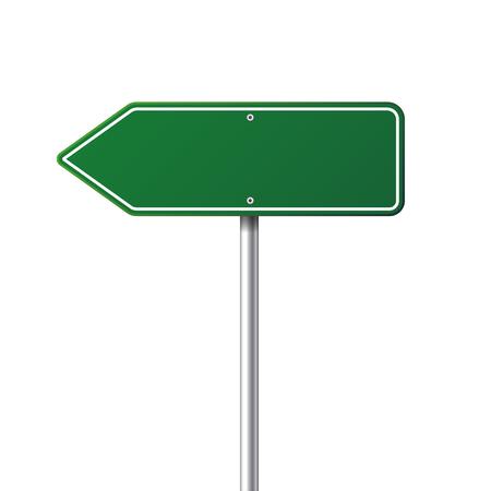 Weg groen verkeersbord. Blanco bord met plaats voor tekst.Mockup. Geïsoleerde informatiebord. Richting. Vector illustratie. Vector Illustratie