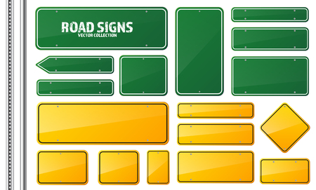 Road green and yellow traffic sign. Blank board with place for text.Mockup. Isolated information sign. Direction. Vector illustration.