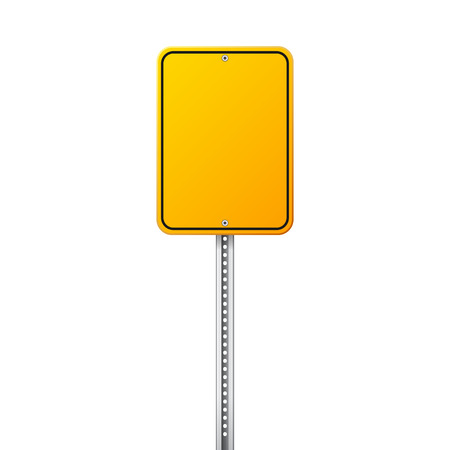Road yellow traffic sign. Blank board with place for text.Mockup. Isolated information sign. Direction. Vector illustration. Ilustracja