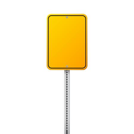 Weg geel verkeersbord. Blanco bord met plaats voor tekst.Mockup. Geïsoleerde informatiebord. Richting. Vector illustratie.