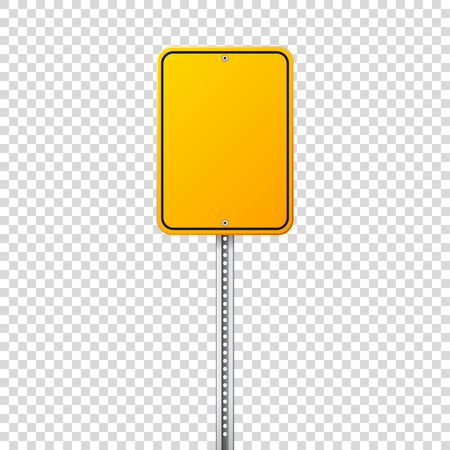 Road yellow traffic sign. Blank board with place for text.Mockup. Isolated information sign. Direction. Vector illustration. Stock Photo