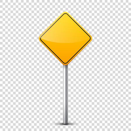 Collection de panneaux de signalisation jaune isolé sur fond transparent. Contrôle de la circulation routière. Utilisation de la voie. Arrêt et rendement. Signes réglementaires. Courbes et virages. Banque d'images - 81849111