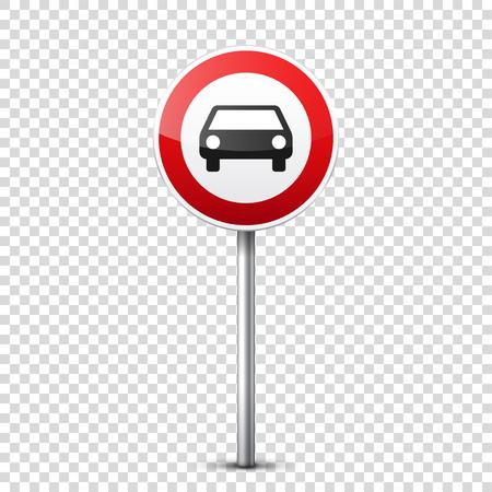 Collection de panneaux routiers rouges isolée sur fond transparent. Contrôle de la circulation routière. Utilisation de la voie. Arrêtez et cédez. Signes réglementaires. Courbes et virages Banque d'images - 81849112