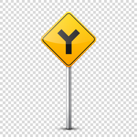 Road yellow signs collection isolated on transparent background. Road traffic control.Lane usage.Stop and yield. Regulatory signs. Curves and turns. Stok Fotoğraf - 81849113