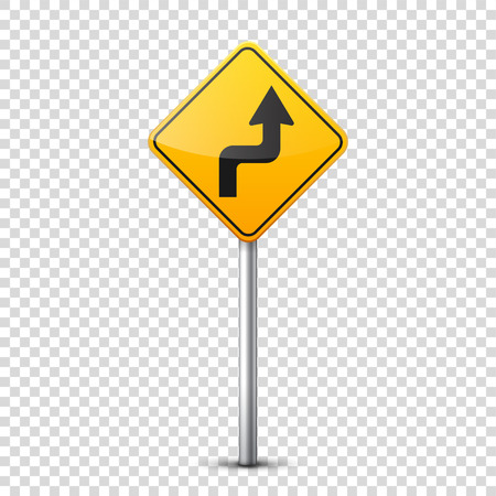 Road yellow signs collection isolated on transparent background. Road traffic control.Lane usage.Stop and yield. Regulatory signs. Curves and turns. Stok Fotoğraf - 81849114