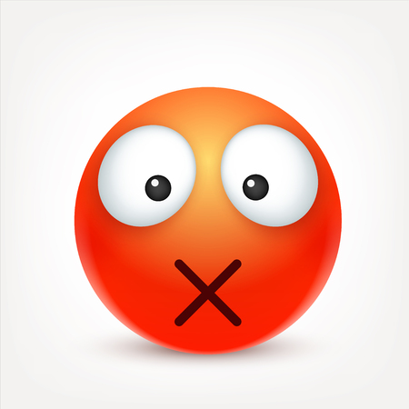 Smiley,emoticon. Red face with emotions. Facial expression. 3d realistic emoji. Sad,happy,angry faces.Funny cartoon character.Mood. Web icon. Vector illustration. Zdjęcie Seryjne - 82265134