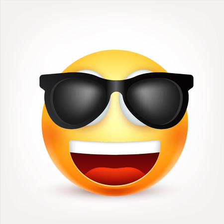 A Smiley,emoticon. Yellow face with emotions. Facial expression. 3d realistic emoji. Sad,happy,angry faces.Funny cartoon character.Mood. Web icon. Vector illustration.