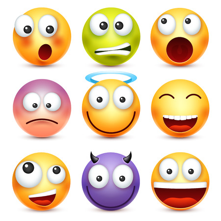 顔文字、絵文字セット。感情と黄色の顔。顔の表情。3 d のリアルな絵文字。悲しい、幸せ、怒っている顔。面白い漫画のキャラクター。気分。Web ア